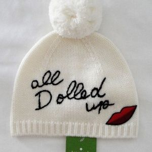 Kate Spade All Dolled Up Pom Beanie Winter Hat NEW